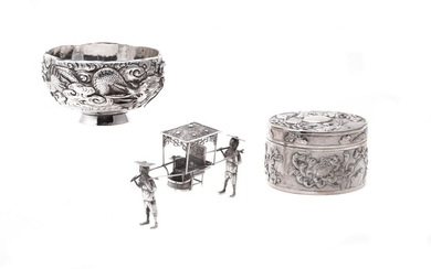 A Chinese silver circular box and cover