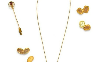 A Collection of Antique Yellow Gold Jewelry,
