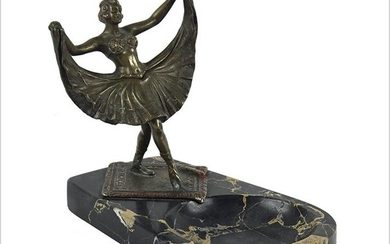 A Continental Bronze and Marble Erotica Figure.