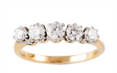 A DIAMOND FIVE STONE RING, the graduating old cut diamonds m...