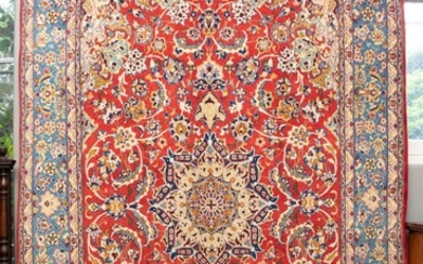 A FINE PERSIAN ISFAHAN CARPET, 100% SOLID AND DENSE WOOL IN EXCELLENT CONDITION, FINELY HAND KNOTTED ISFAHAN WEAVE WITH CLASSIC DESI...