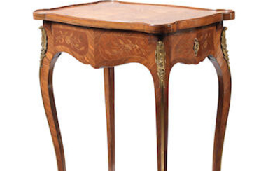 A French late 19th century/early 20th century gilt bronze mounted, bois satine and marquetry table ambulant