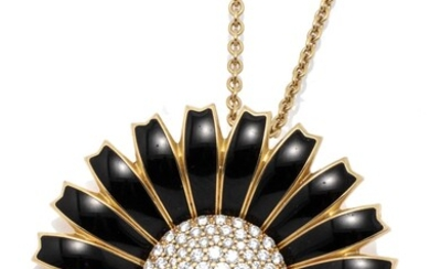 A GEORG JENSEN 18CT GOLD DIAMOND DAISY PENDANT NECKLACE; 43.5mm wide daisy featuring black enamelled petals, flower head pave set wi...