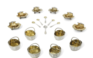 A GROUP OF TWELVE GEORGE III PARCEL-GILT SILVER SALT-CELLARS, THE BASKET SHAPED SALT-CELLARS: THREE WITH MARK OF ELIZABETH GOODWIN, LONDON, 1764; TWO WITH MARK OF WILLIAM BROMAGE, LONDON, 1766; ONE WITH MARK OF WILLIAM BURCH, LONDON, 1792; THE SHELL...
