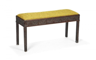 A George III style carved mahogany duet piano stool, early 20th century