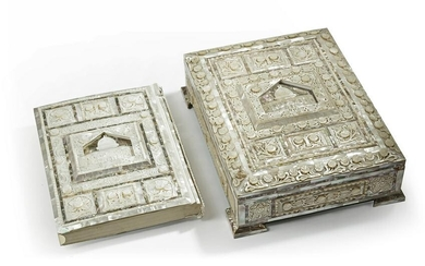 A LARGE MOTHER-OF-PEARL QURAN AND BOX, JERUSALEM, 20TH