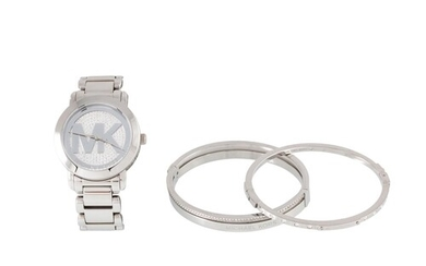 A MICHAEL KORS WATCH, together with two bangles, in pouch