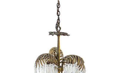 A Neoclassical Brass and Cut-Glass Six-Light Palm-Leaf Ceiling Fixture