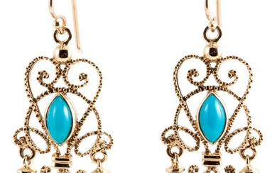 A PAIR OF CANNETILLE STYLE TURQUOISE AND PEARL EARRINGS; 9ct gold wire work drops set with cabochon turquoise and pearls on shepherd...