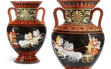 A PAIR OF CONTINENTAL PORCELAIN ETRUSCAN-STYLE AMPHORA VASES, 19TH CENTURY