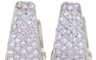 A PAIR OF DIAMOND EAR CLIPS, PAVÉ SET IN 18CT WHITE GOLD, 16...