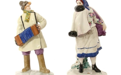 A PAIR OF EARLY SOVIET PORCELAIN FIGURINES 1924