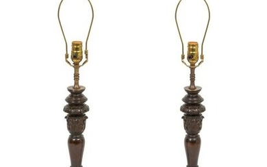 A Pair of Carved Wood Candlesticks Mounted as Lamps