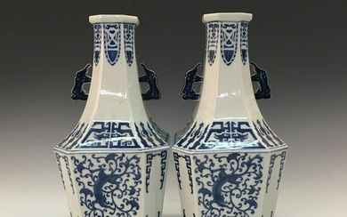 A Pair of Chinese Blue-White Vase, Qianlong Mark