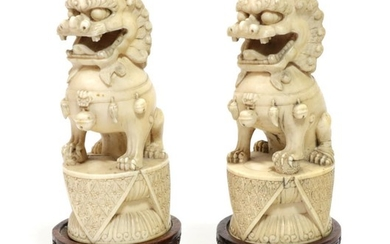 A Pair of Chinese Carved Ivory Dogs of Fo, 19th...
