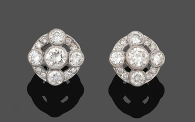 A Pair of Diamond Cluster Earrings, a round brilliant cut...