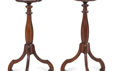 A Pair of George III Style Mahogany Pedestal Tables