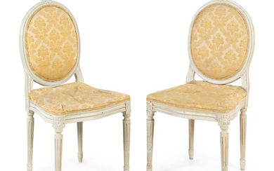 A Pair of Louis XVI Style Painted Side Chairs