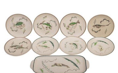 A Poole Pottery fish and sandwich set: modelled after a desi...
