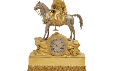 A Restauration ormolu and silvered mantle clock, c.1815-30, modelled in...