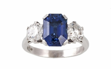 A SAPPHIRE AND DIAMOND THREE STONE RING, a rectangular step ...