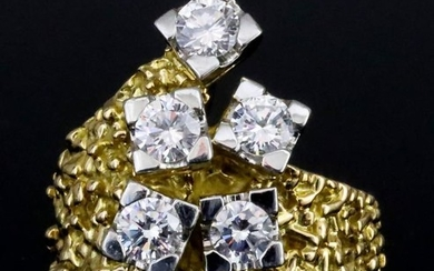 A Six Stone Diamond Ring, 20th Century, in gold...