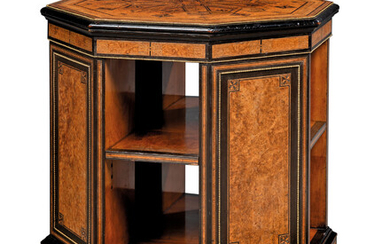A VICTORIAN BRASS-MOUNTED AMBOYNA, EBONY, EBONISED AND MARQUETRY OCTAGONAL BOOKSTAND