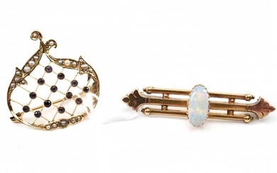 A VICTORIAN WHITE OPAL BROOCH IN 15CT GOLD, TOGETHER WITH AN EDWARDIAN AMETHYST AND SEED PEARL BROOCH STAMPED 9CT GOLD