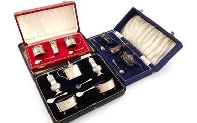 A five-piece silver condiment set, by E S...