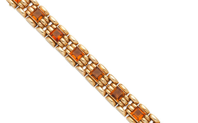 A gold and citrine bracelet, circa 1957