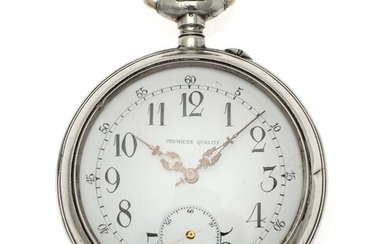 NOT SOLD. A large Swiss silver open-face pin-set pocket watch engraved with the Swedish-Norwegian Union...