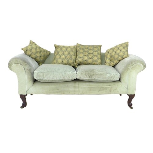 A modern Chesterfield style two seater settee, with scroll o...