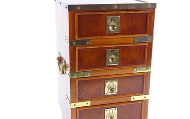 A modern brass-bound yew wood table-top chest of 4 drawers, ...