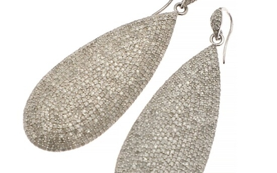 A pair of diamond ear pendants each set with numerous single-cut diamonds weighing a total...