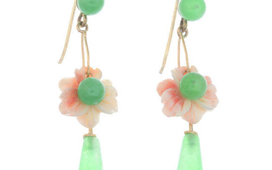 A pair of dyed jade and coral drop earrings.
