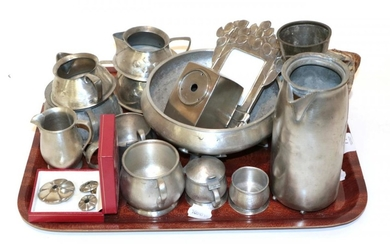 A quantity of Arts & Crafts pewter including Liberty &...