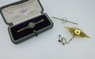 A rose cut diamond bar brooch together with two others,