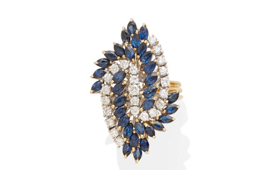 A sapphire and diamond navette ring