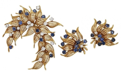A sapphire and diamond-set brooch and pair...