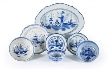 A selection of Staffordshire chinoiserie blue and white painted pearlware domestic wares