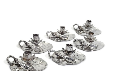 A set of six Victorian silver novelty 'Lily' chambersticks, R. & S. Garrard & Co London, 1854 and 1863