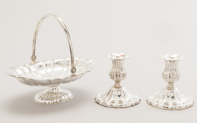 A silver basket, a silver box and a pair of silver candlesticks, Hämeenlinna and Turku, Finland 1951-1981.