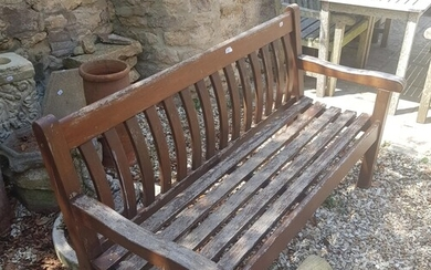 A teak garden bench, another, and a garden bench with cast m...