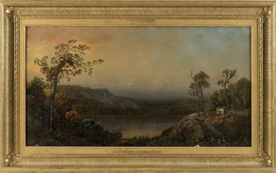 """AMERICAN SCHOOL, 19th Century, American landscape, likely the Adirondacks., Oil on canvas, 18"""" x 33.5"""". Framed 25"""" x 42""""."""