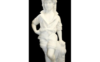 AN ITALIAN WHITE MARBLE CARVED STATUE Young fisherman in tr...