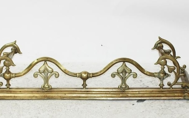 American Gothic Revival brass fire fender