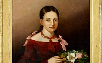 American oil on canvas portrait of a young girl