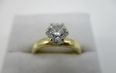 An 18ct yellow gold diamond solitaire ring, raised six claw ...