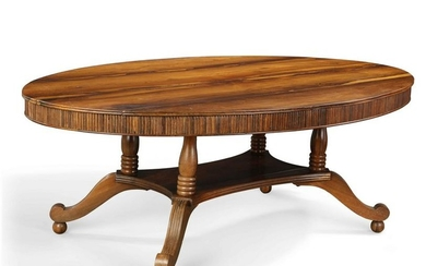 An Anglo-Indian exotic hardwood oval dining table