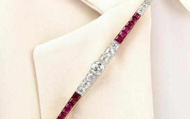 An Art Deco 18ct gold and platinum, Burmese ruby and